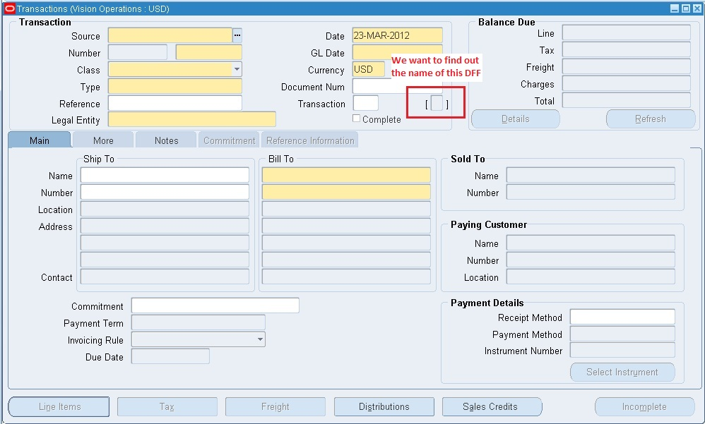 Finding the name of a DFF in a seeded Form | Oracle Apps Notes