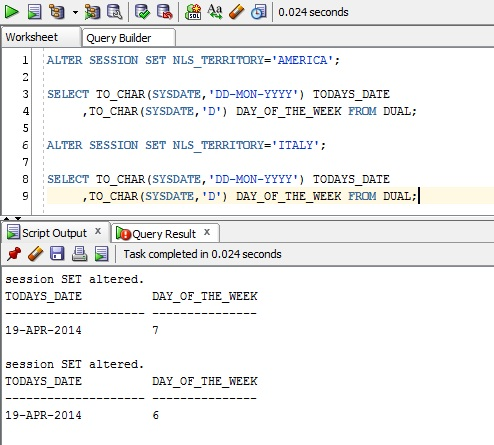 Notes on Extracting the Day of the Week | Notes on Oracle Applications
